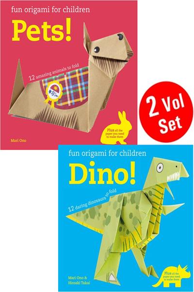 Fun Origami For Children Pets! & Dino! (2 Vol Set)
